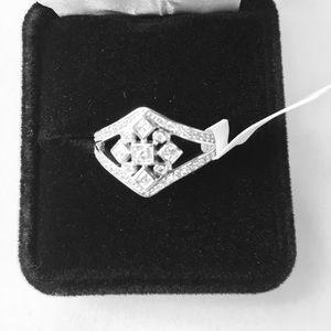JTV nwt nib rhodium coated ss/cz ring size 11